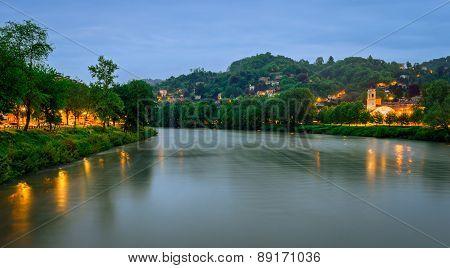 Turin (torino), River Po And Hills