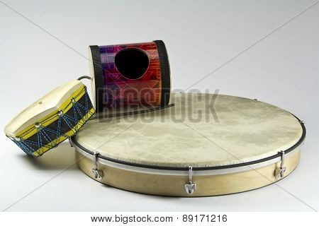 tambourin percussion instruments isolated on white background