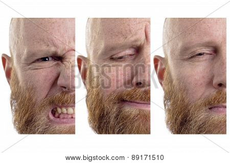 angry man sad man, three half faces isolated on white background