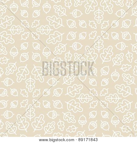 Seamless botanical pattern with oak leaves and acorn.