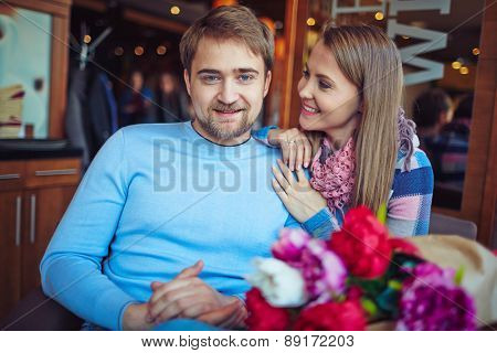 Romantic couple relaxing in cafe