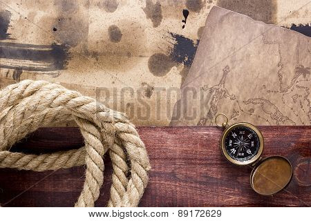 Vintage Background With Elements Of Ship Travel