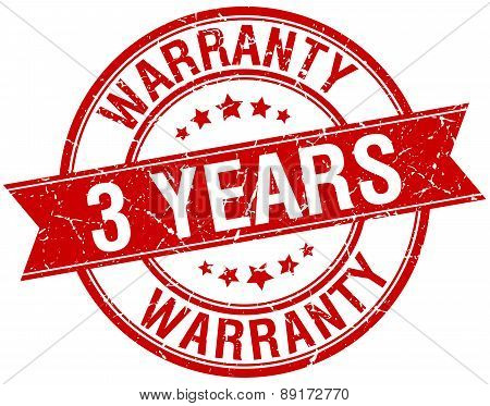 3 Years Warranty Grunge Retro Red Isolated Ribbon Stamp