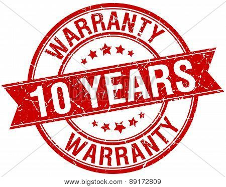 10 Years Warranty Grunge Retro Red Isolated Ribbon Stamp