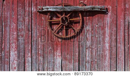 Old, red grunge wood