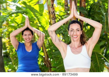 Relaxed woman and her trainer doing yoga on a sunny day