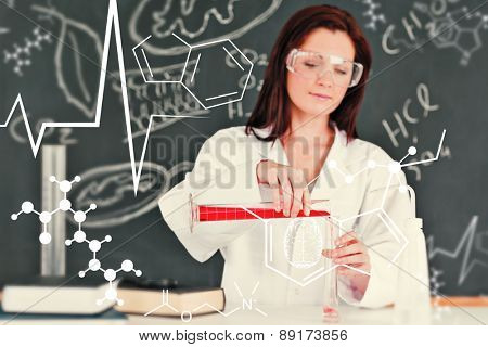 Science and medical graphic against focused young scientist pouring a liquid in a gratuated cylindre