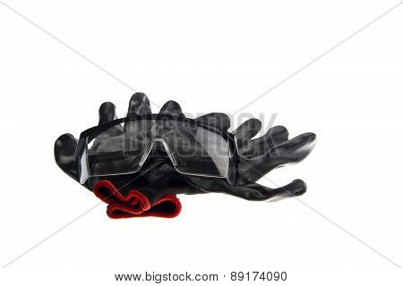 working gloves protection glasses isolated on white background