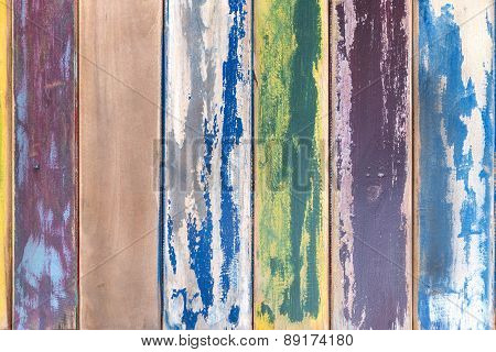 Colorful weathered wooden boards