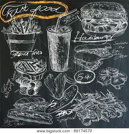Food - Hand Drawings On Blackboard, Pack