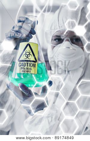 Science and medical graphic against scientist in protective suit with hazardous chemical in flask