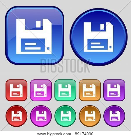 Floppy Icon Sign. A Set Of Twelve Vintage Buttons For Your Design. Vector