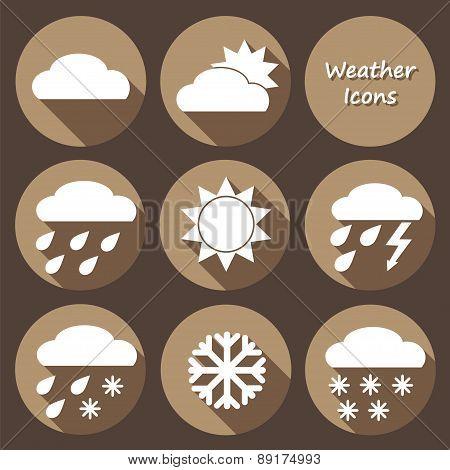 Monochrome Round Icons Set Of Weather Forecast