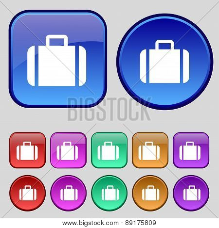 Suitcase Icon Sign. A Set Of Twelve Vintage Buttons For Your Design. Vector