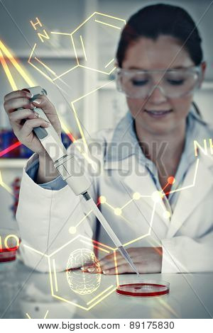 Science and medical graphic against portrait of a young scientist preparing