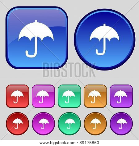 Umbrella Icon Sign. A Set Of Twelve Vintage Buttons For Your Design. Vector