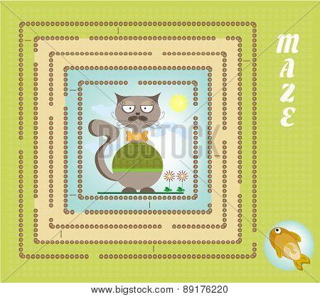 Funny maze, labyrinth - hipster cat, golden fish