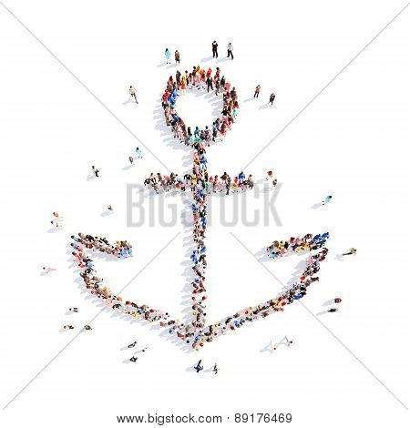 people in the form of an anchor.