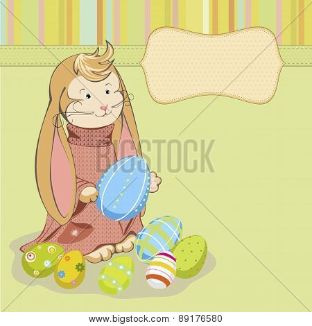 Easter Bunny with painted eggs