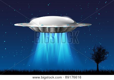 Unidentified Flying Object With Rays And Starry Night Sky