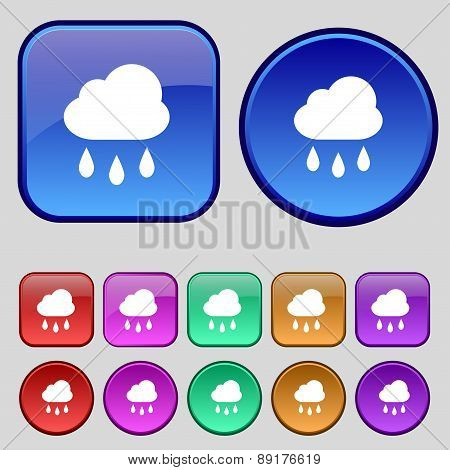 Weather Rain Icon Sign. A Set Of Twelve Vintage Buttons For Your Design. Vector