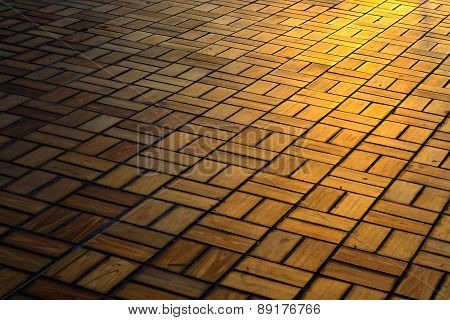 Brick Floor Pattern With Sunlight