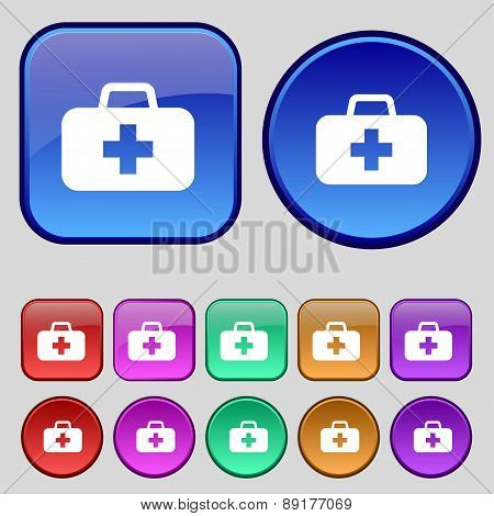 Medicine Chest Icon Sign. A Set Of Twelve Vintage Buttons For Your Design. Vector