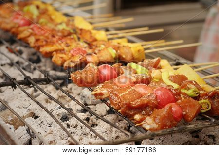 Bar-b-q Or Bbq Grill Of Meat At The Market