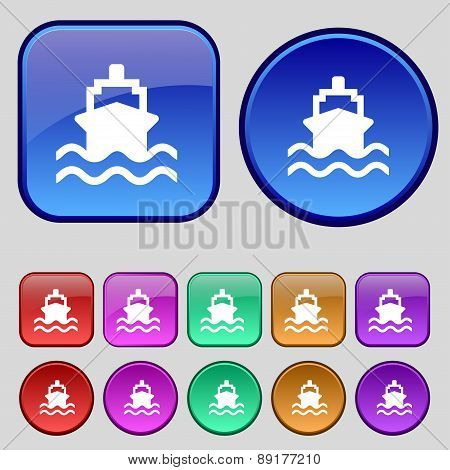 Ship Icon Sign. A Set Of Twelve Vintage Buttons For Your Design. Vector