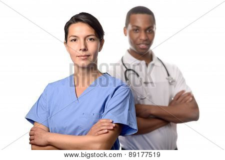 Successful Female Doctor In Scrubs