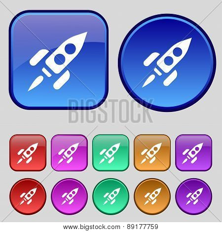Rocket Icon Sign. A Set Of Twelve Vintage Buttons For Your Design. Vector