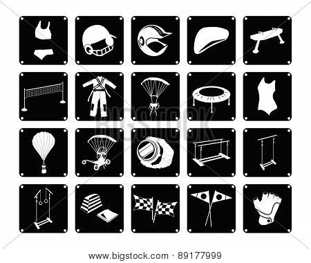 Set Of Sport Accessory Icons On White Background