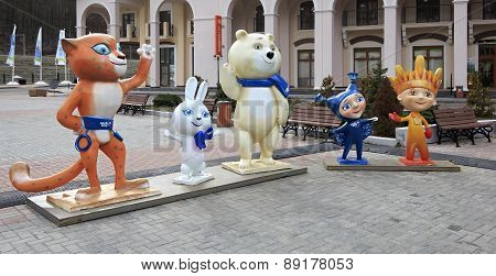 Winter Olympic Games mascots in Gorky Gorod Resort