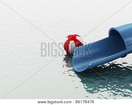 3d slides of the aquapark. Summer concept