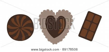 Chocolate Heart For Valentine's Day. Vector Illustration
