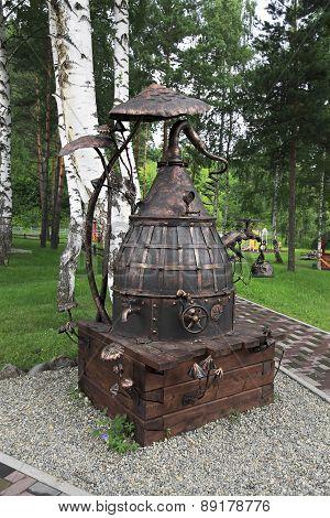Forged sculpture Samovar near the Restaurant Beershale
