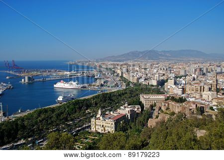 Malaga port and city.