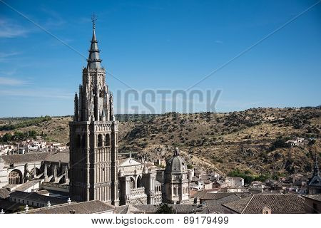 Toledo Cathedral Tower And Landscape