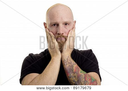 surprised man isolated on white background