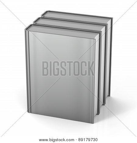 Books Three Blank Cover Standing 3 Textbook Template Grey