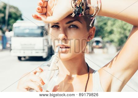 Outdoor Summer Portrait Of Woman Drinks Water