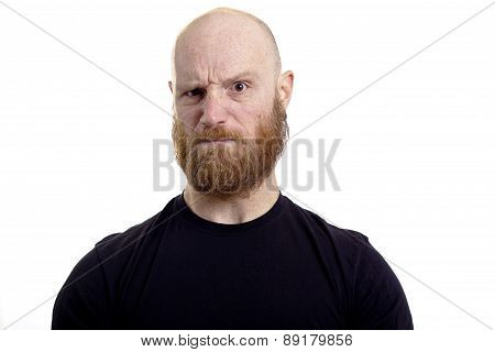 angry evil man with bad thoughts isolated on white background