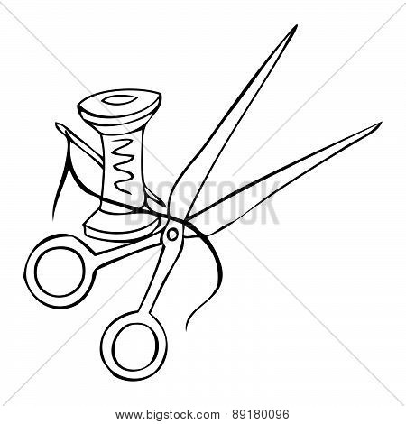Vector. Scissors And Thread On A White Background