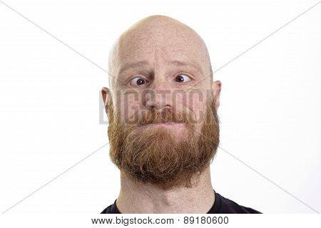 man with crossed eyes isolated on white background