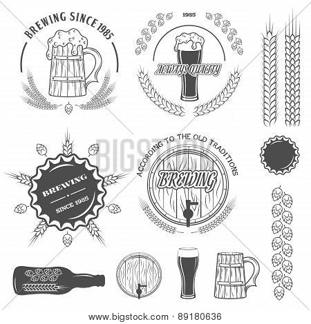 Beer emblems , labels and design elements.