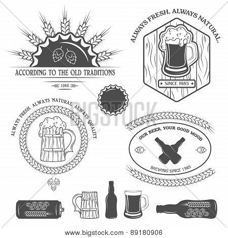 Beer emblems, labels and design elements.