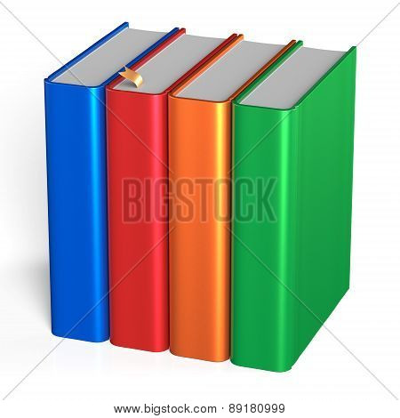 Four Books Educational Studying Textbooks Bookshelf Faq