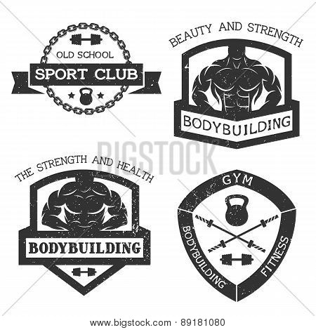 Set of emblem bodybuilding and fitness.