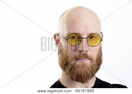bald man red beard wearing glasses isolated on white background