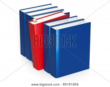 Blue Books Row With One Red Selected With Bookmark